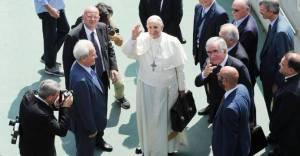 El Papa Francisco junto al pastor evangélico pentecostal Giovanni Traettino en Caserta, Italia.