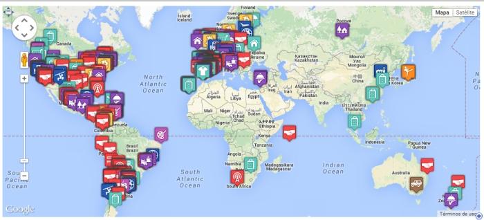 Mapa de ciudades que aceptan Bitcoins (Agosto 2015). Fuente: mercadobitcoin.com