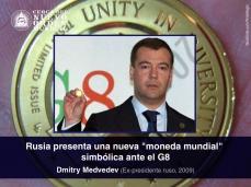 """Rusia presenta una nueva """"moneda mundial"""" simbólica ante el G8"""