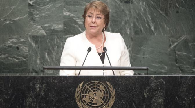 """Asamblea General de la ONU: Bachelet llama a """"restablecer la paz a nivel mundial"""""""