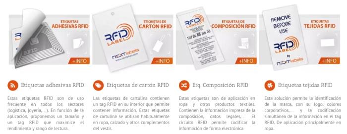Distintos tipos de etiquetas RFID para aplicar en ropa (lo mismo puede ser para otros productos). Las etiquetas RFID se encuentran prácticamente en todo lo que consumimos. (Fuente de la imagen: http://www.nextlabels.com/productos/)