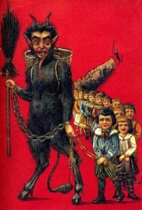 Krampus leading children