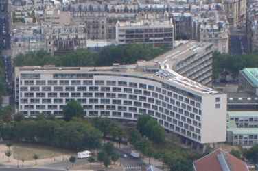 Vista aérea del edificio de la UNESCO en París