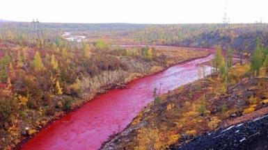 En Rusia un río se tiñó de rojo debido a la contaminación, se cree que fue debido a sulfato de hierro. 2016