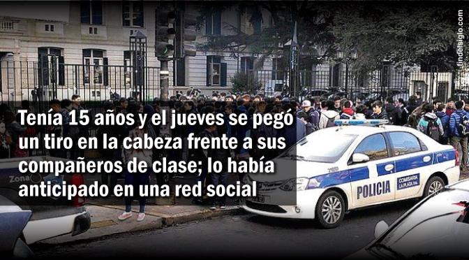 [Argentina] Adolescente se suicida en el colegio en plena clase